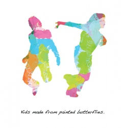 kids butterfly paint vector image
