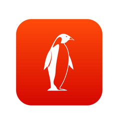 King penguin icon digital red vector