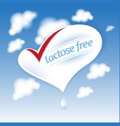 lactose free natural fresh milk splash logo heart vector image