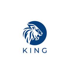 lion king logo side view blue color circle logo vector image