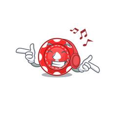 Listening music gambling chips mascot cartoon vector