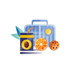 Lunch bag with cookie juice and orange healthy vector