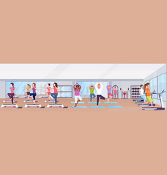 mix race people doing exercises men women working vector image