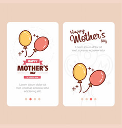 mothers day card with balloons logo and pink theme vector image