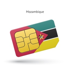 Mozambique mobile phone sim card with flag vector image