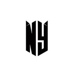 Ny logo monogram with shield shape designs vector
