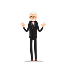 old man elderly man stand with hands up cartoon vector image