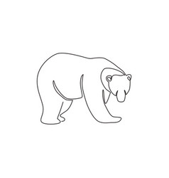 One continuous line drawing elegant bear vector