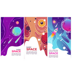 Outer space comets and launching rockets banners vector