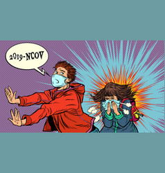 Panic young man is afraid a sneezing sick vector