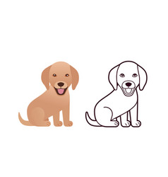 pappy dog in flat design and outline vector image