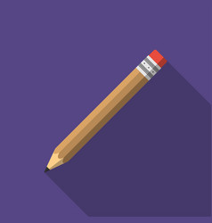 pencil icon in flat style with shadow vector image