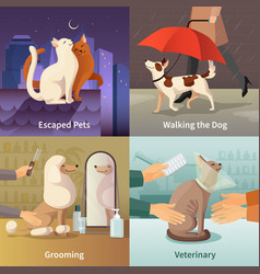 pet shop concept icons set vector image