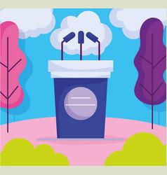 Podium microphones politics election democracy vector
