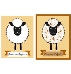 popcorn package design with fun sheep sheep vector image