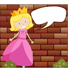 Princess with speech bubble vector