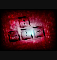 Red background with the keys and symbols of the vector