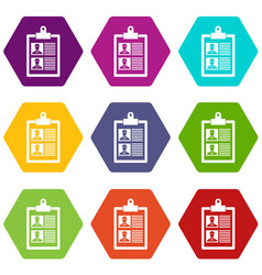 Resume of two candidates icon set color hexahedron vector