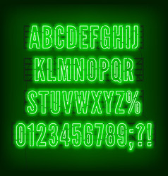 retro green neon alphabet with numbers on dark vector image