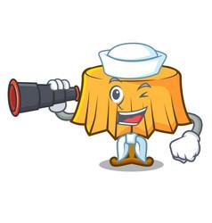 Sailor with binocular table cloth mascot cartoon vector