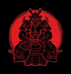 Samurai ready to fight composition vector