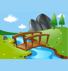 Scene with bridge over river vector