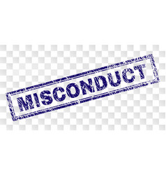 Scratched misconduct rectangle stamp vector