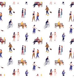 Seamless pattern with crowd people walking on vector