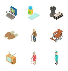 senility icons set isometric style vector image