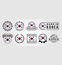 set bundled made in korea label badge design made vector image