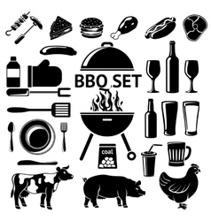 Set for BBQ party Grill drinks vector