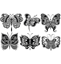 Set of butterflies silhouettes isolated on white b vector image