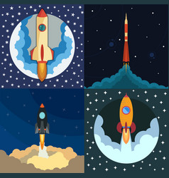 set of four space rocket ship in round piece vector image