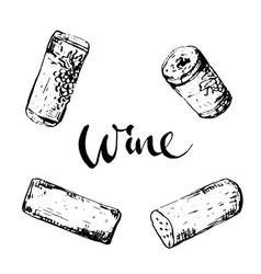 set wine corks vector image