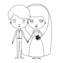 Silhouette caricature newly married couple young vector