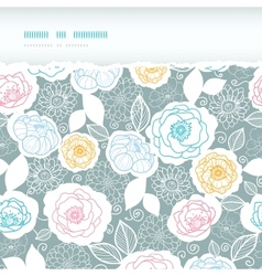 Silver and colors florals horizontal torn seamless vector image
