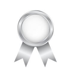silver round award badge on white stock vector image