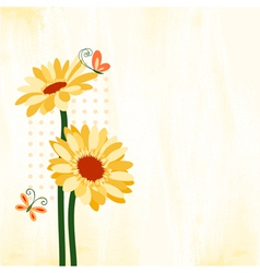 Springtime Colorful Daisy Flower with Butterfly vector image
