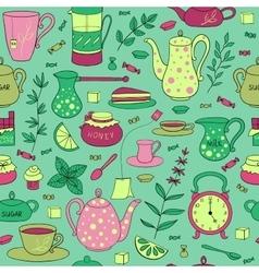 Tea time seamless pattern vector