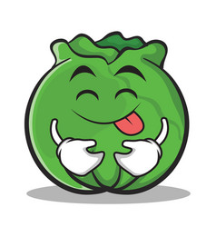 Tongue out cabbage cartoon character style vector
