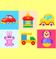 Toys collection isolated on colorful backgrounds vector
