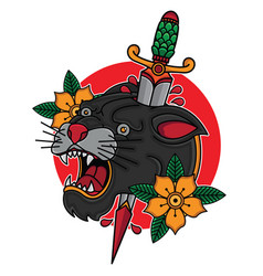 traditional old school panther and dagger vector image