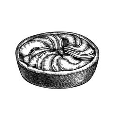 traditional peaches pie sketch ink hand vector image