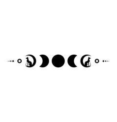 Triple moon and black cats pagan wiccan goddess vector