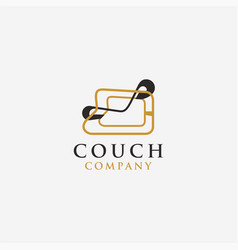unique modern contemporary couch chair logo icon vector image