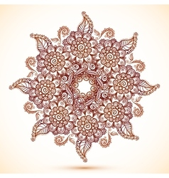 Vintage isolated mandala in Indian mehndi style vector image