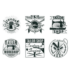 Vintage tailor workshop labels set vector