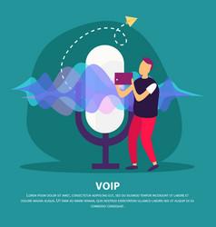 Voice communication flat background vector