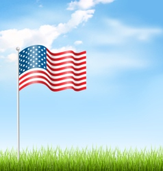 Wavy USA national flag with grass and clouds on vector image