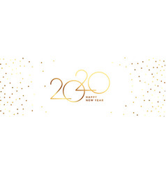 White and gold happy new year 2020 banner design vector